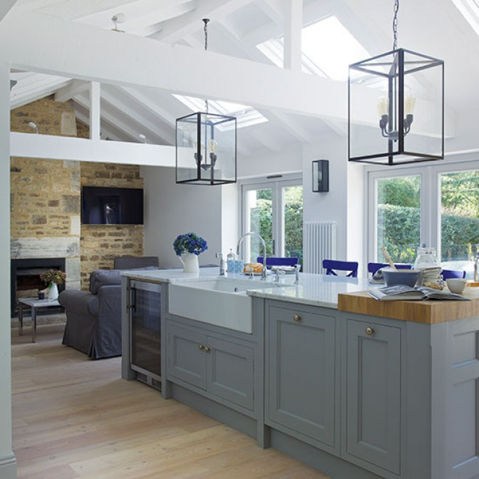 Grey open-plan Shaker-style kitchen