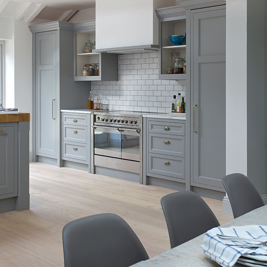 Grey Shaker Style Kitchen With Range Cooker Decorating