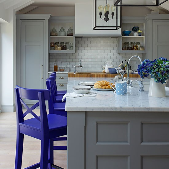 traditional grey and blue shaker kitchen decorating