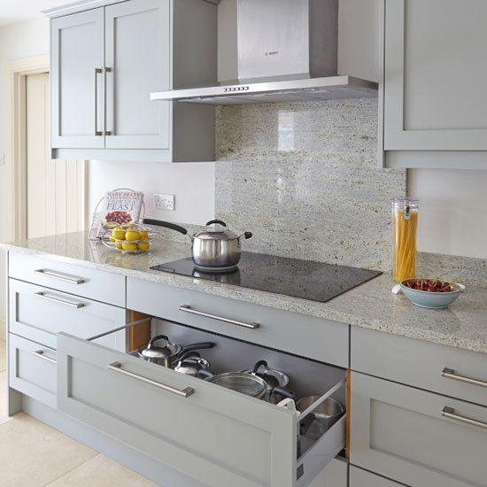 Grey Kitchen Marble Worktop: Grey Kitchen With Splashback