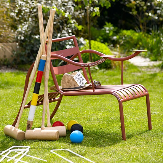 Summer garden with party croquet set
