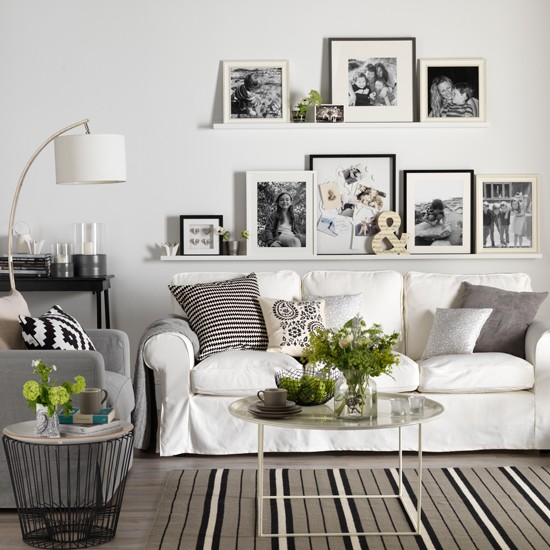 Monochrome Living Room With Picture Display How To Decorate