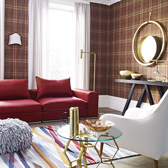 living room with tartan wallpaper living room decorating homes