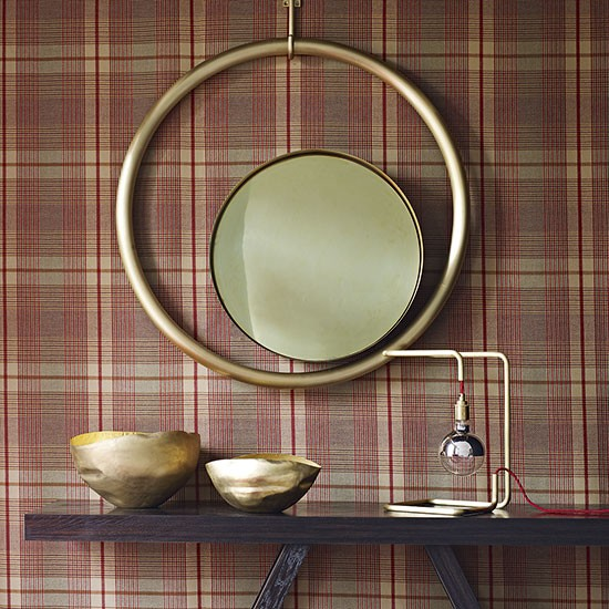 Traditional hallway with checked wallpaper decorating for Tartan wallpaper next