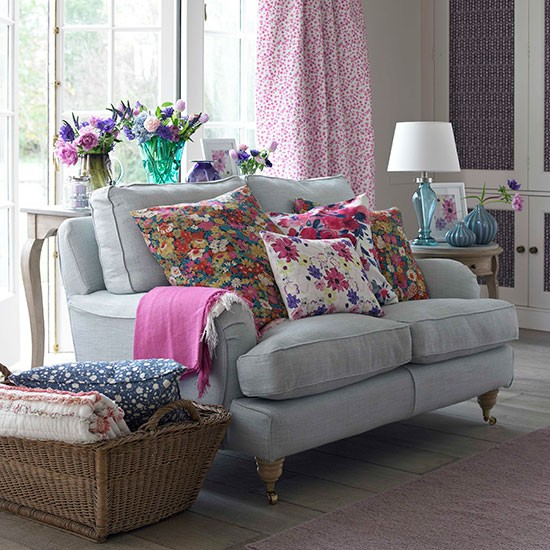 Floral living room with french windows decorating for Living room ideas pink and grey