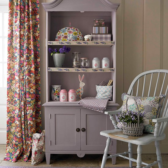 Vintage Floral Living Room With Violet Armoire