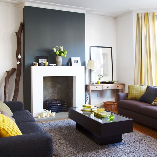 Modern living room in yellow and grey for Yellow living room ideas