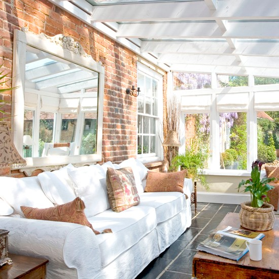 Conservatory with brick wall and ornate mirror | Easy ...