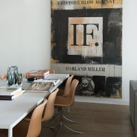 White dining room with contemporary artwork