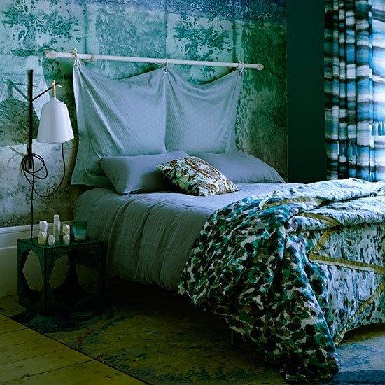 blue and green bedroom with marble effect panel bedroom decorating