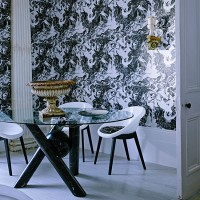 Monochrome dining room with feature wallpaper