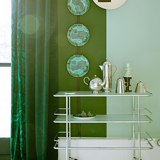Modern Green Living Room With Art Deco Tea Service