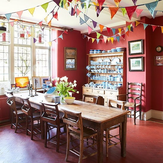 Cheerful Red Dining Room With Bunting Country Dining