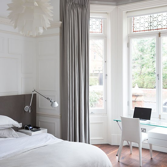 White Modern Bedroom With Bay Window