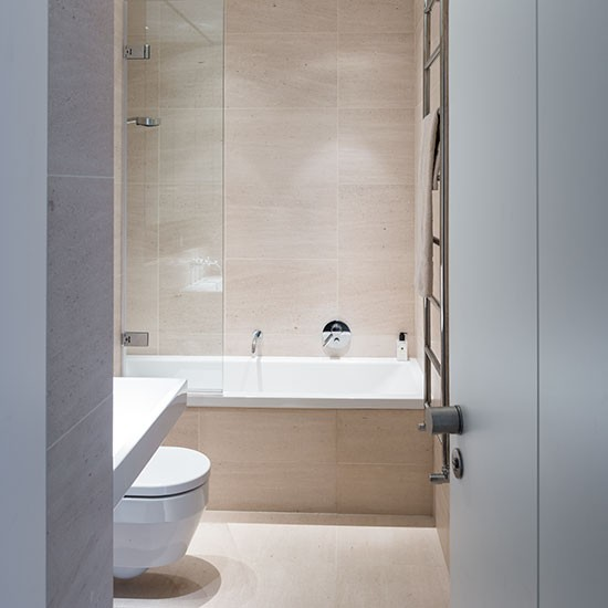 Neutral Bathroom With Large Format Tiles Decorating