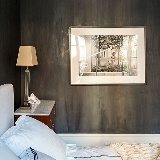 Black Bedroom With White Soft Furnishings Decorating
