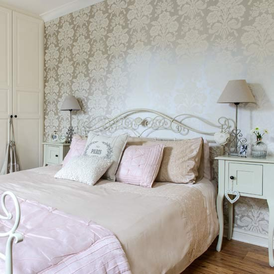 French style bedroom with gold wallpaper country bedroom for Bed styling ideas