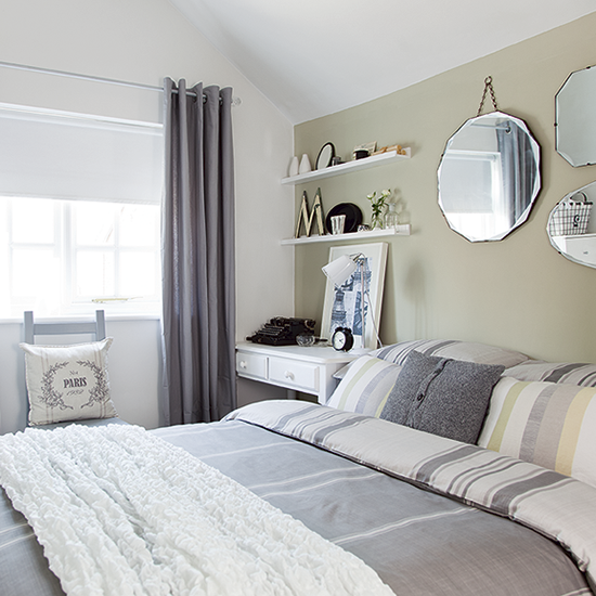Neutral bedroom with pale green feature wall country for Grey and neutral bedroom