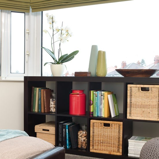 open bedroom shelving with basket drawers bedroom
