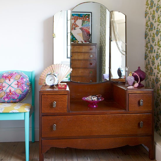 Retro Dressing Table With Drawer Storage Bedroom Storage