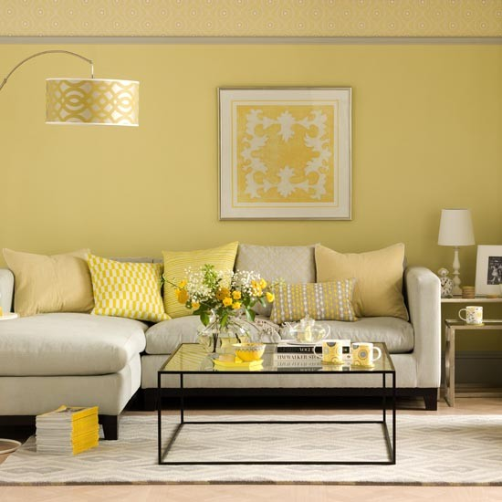 Sunshine Yellow Living Room With L Shaped Sofa Coffee Table Rug Ideal Small