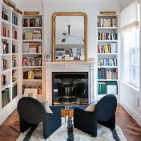 Cosy home office with built-in bookcases