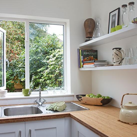 White L-shaped Shaker Kitchen