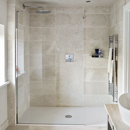 Neutral stone tiled shower room decorating housetohome for Neutral bathroom ideas