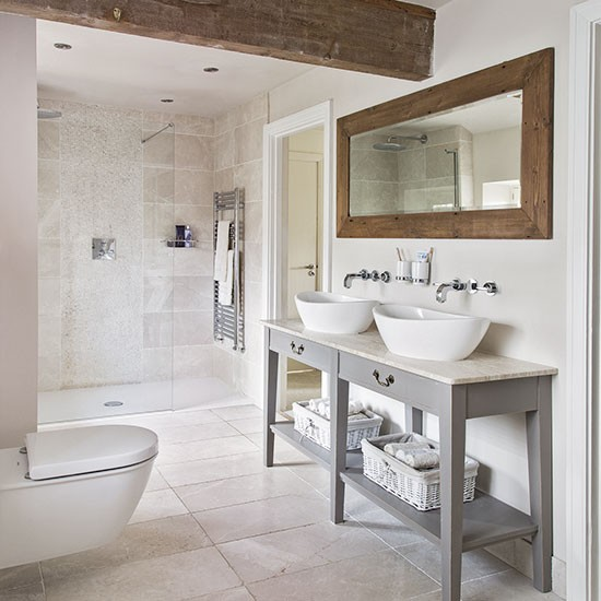 Neutral tiled bathroom with wooden beams decorating for Neutral bathroom ideas