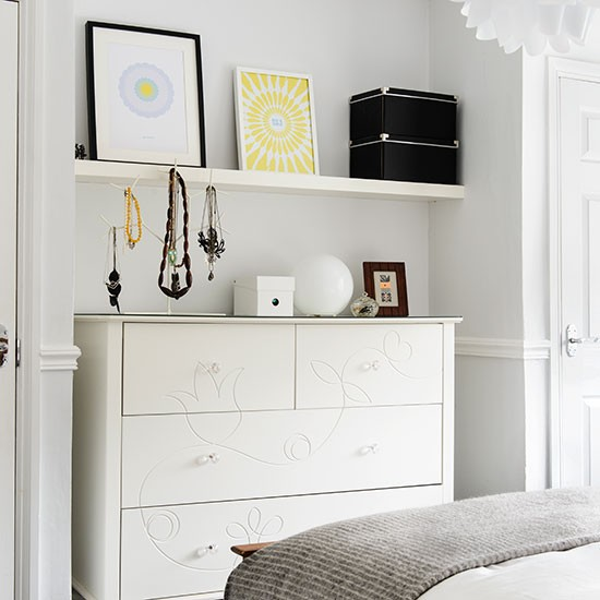 Bedroom Bins Uk White Bedroom Decorating Ideas Pictures White Venetian Blinds Bedroom Best Bedroom Ceiling Design: White Feminine Bedroom With Pretty Storage