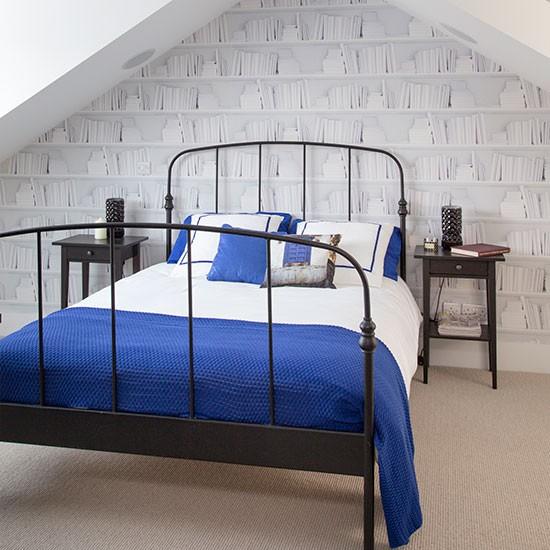White Loft Bedroom With Bookshelf Wallpaper