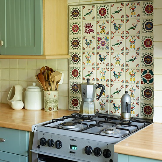 Green Kitchen With Tiled Splashback Decorating