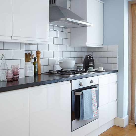 Blue and white tiled kitchen kitchen decorating style at home