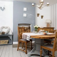 Grey and white dining room with vintage table