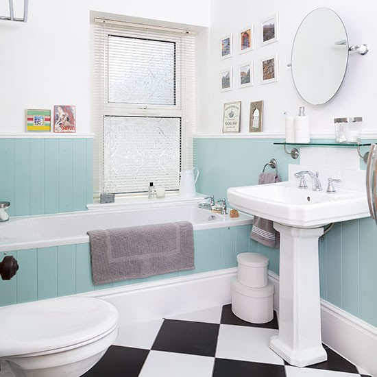 White Bathroom With Duck Egg Blue Panelling Decorating