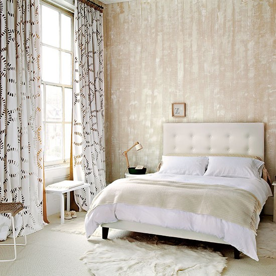 Neutral Bedroom With Textured Wallpaper