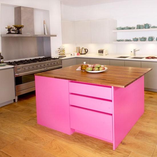 pink painted kitchen island  Painted kitchen design ideas  Kitchen