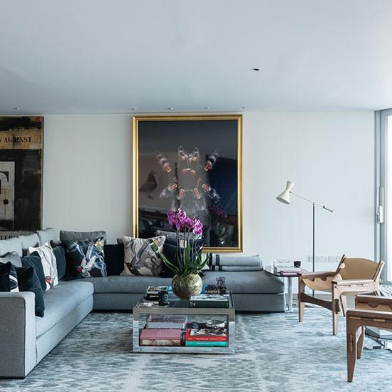 Living Room Modern Riverside Apartment In London House