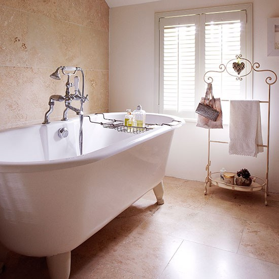 bathroom with limestone wall and floor tiles country french country bathroom decorating ideas http www