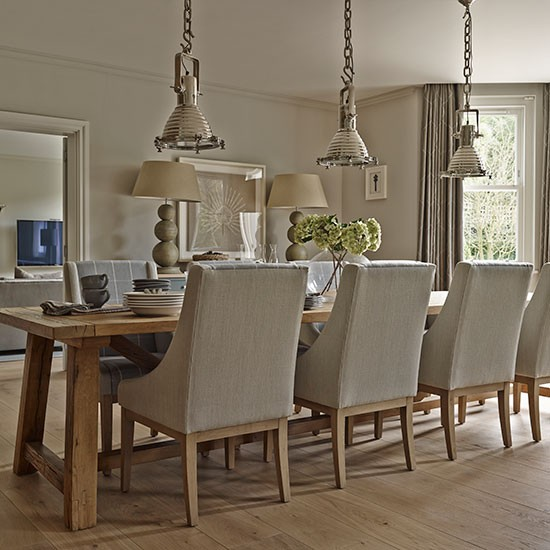 neutral dining room with silver pendant lights explore this elegant