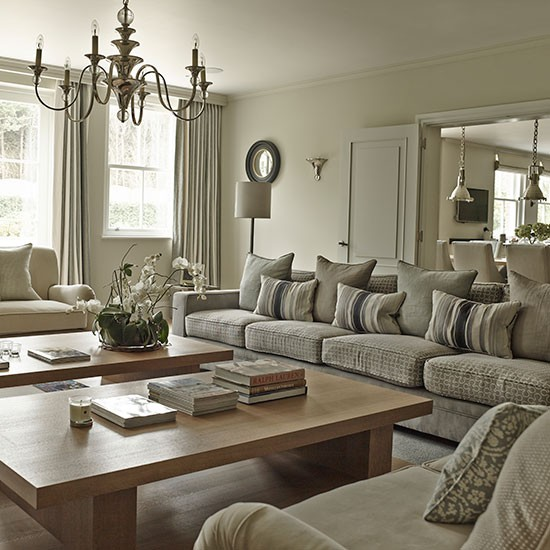 Explore This Immaculate New: Symmetrical Sitting Room With Twin Coffee Tables