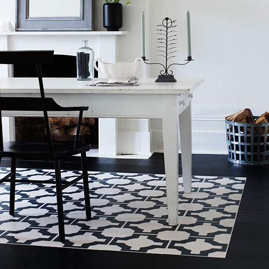 Dining room with black and white rug effect flooring for Black and white dining room decorating ideas