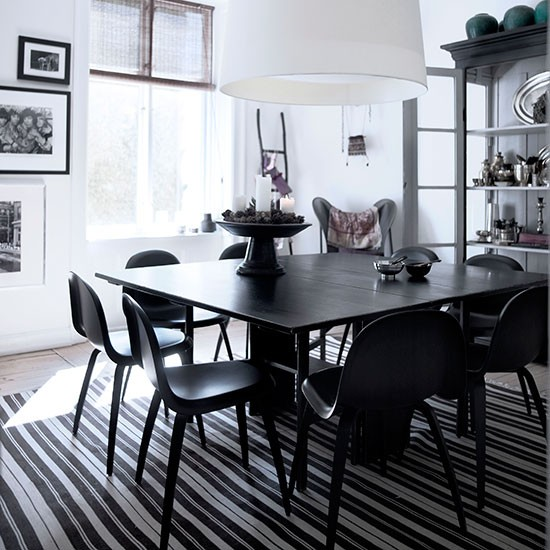 Dining room with black and white striped rugs black and white flooring ideas decorating - Dining room flooring options ...