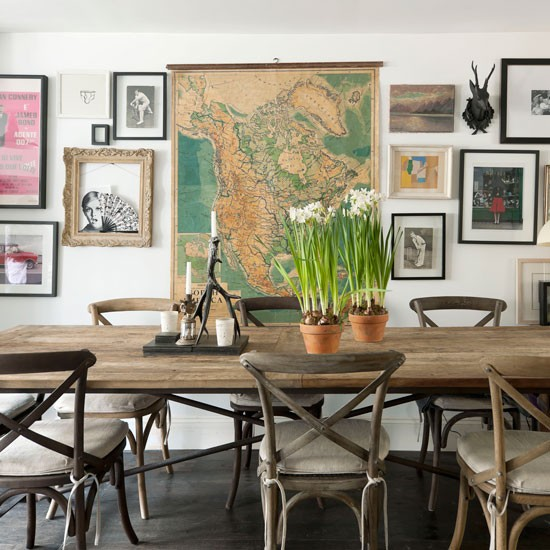 Dining Room With Large Vintage Map Explorer Trend