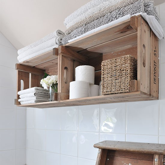 Bathroom with wooden crate shelving housetohome.co.uk