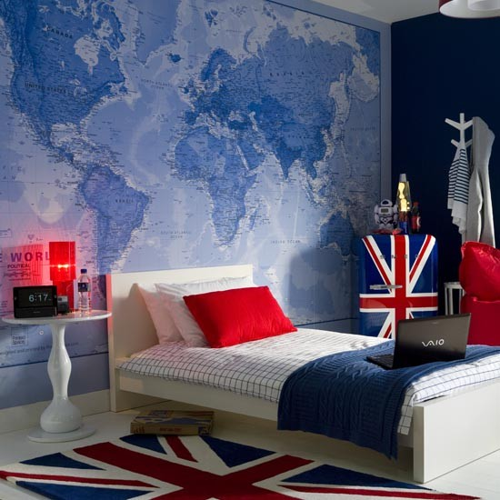 Teenage boy's bedroom with map mural Teenage boy s room  ~ Quarto Masculino Londres