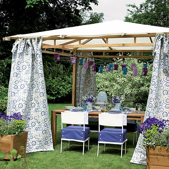 Gazebo Canopy Ideas : Garden gazebo with blue floral curtains and paper lanterns  Garden