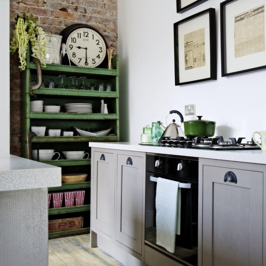 Grey Industrial Kitchen: Industrial-style Kitchen With Shaker Cupboards