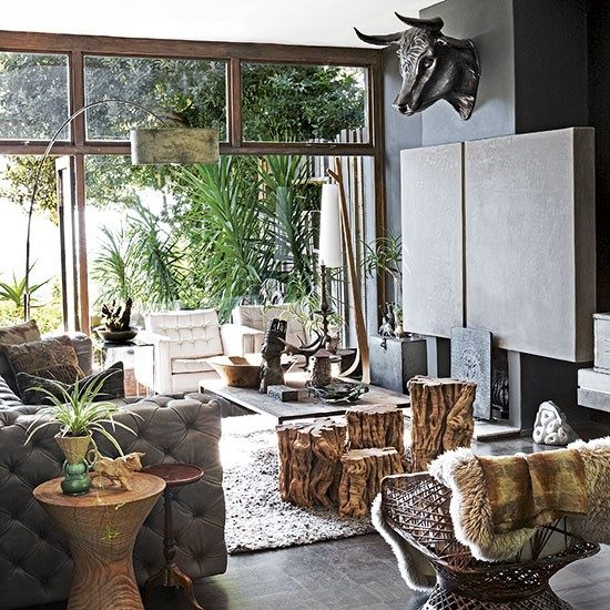 Jungle themed living room open plan living room ideas to for Jungle living room ideas