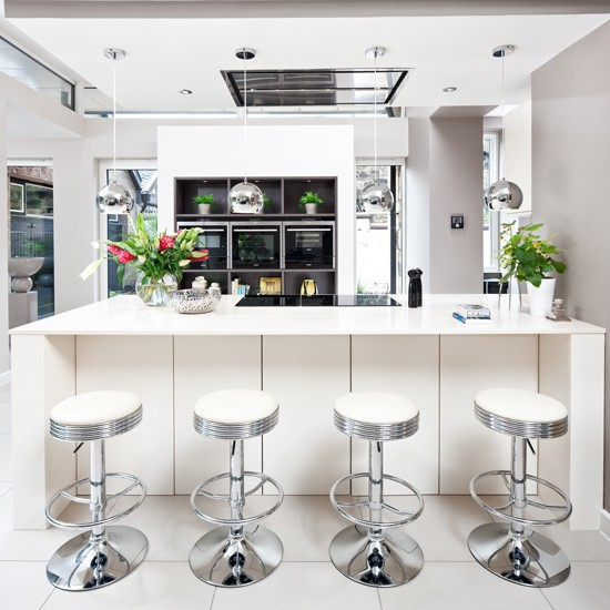 Black Kitchen Bar Stools Uk: White Kitchen With Silver Bar Stools